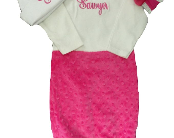 Personalized Coming Home Baby Gown for Girl, Pink and Gray Personalized Baby Girl Gown, Customize to your colors