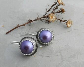 Fancy Crown Bezel Set--Genuine Purple Pink Organic Rustic Freshwater Pearl and Sterling Earrings--June Birthstone