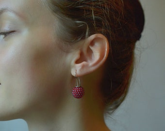 globe earrings red turquoise dots