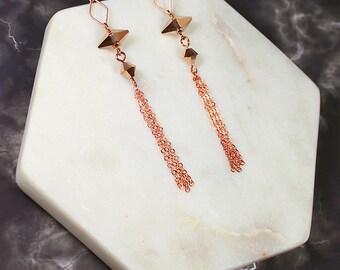 Jupiter Rose Gold Earrings, Long Bridal Earrings, Bridal Chain Earrings, Unique Bridal Earrings, Modern Wedding Earrings, Geo Earrings