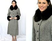 RESERVED Montaldos Branell 2 Piece Skirt Jacket Fox Trim - Black White Gray Birds Eye Tweed - Vintage 1960s Women XS Small