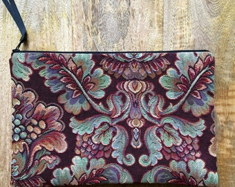 Zippered Pouch, Upholstery Fabric Zip Bag, Traditional Floral Pattern, Knitting Needle Keeper, Travel Bag, Many  Uses