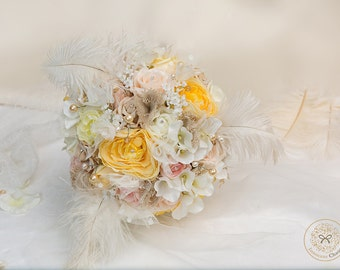 Pastel flowers, floral bouquet, rustic flowers, wedding flowers, fern, woodland bouquet, feather bouquet, silk flowers, statement bouquet