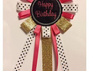 Happy Birthday Badge Pin Corsage Celebration Graduation Homecoming