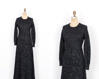 Vintage 1970s Dress / 70s Metallic Knit Sweater Maxi Dress / Blakc ( medium M )
