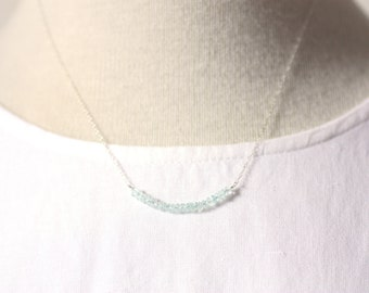 Aquamarine Gemstone Bar Layering Necklace on Silver | Stunning, Luxurious Light Sky Blue Gemstone | Fine Silver Chain | P'tite Jolie by Azki