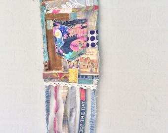 Bohemian Textile Art Wall Pocket Handmade Upcycled