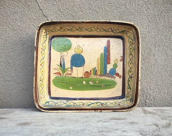 1940s Early Tlaquepaque Rectangular Dish Old Mexico Sleeping Mexican Cactus Decor