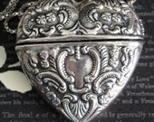 VALENTINE Repousse Heart Locket Necklace. Sterling Silver Locket & Chain. Perfect Valentine's Day or Anniversary Gift