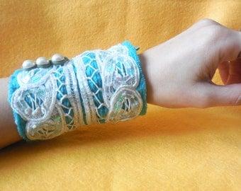 Sale * Sea Dream Art Cuff * Mermaid Accessory * Hand Embroidered