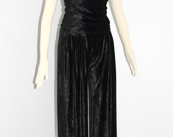 NORMA KAMALI Vintage Jumpsuit Strapless Ruched Black Velvet Onesie