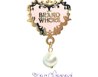 SALE Brand Whore EGL Lolita Fashion Enamel Pinback Lapel Pin with Drop Pearl or Rhinestone Star Glazed Otome