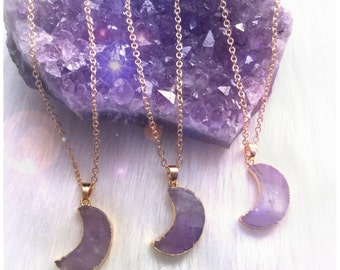 SALE Amethyst Moon necklace, electroplated crescent moon, gold gemstone necklace