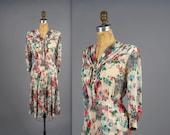 1940s sheer floral print dress • vintage 40s dress • floral day dress