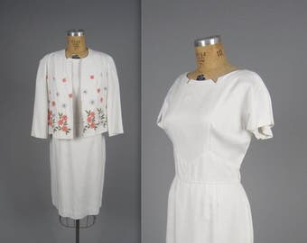 1960s sheath dress and jacket • vintage 60s linen dress set • embroidered 60s set • larger size