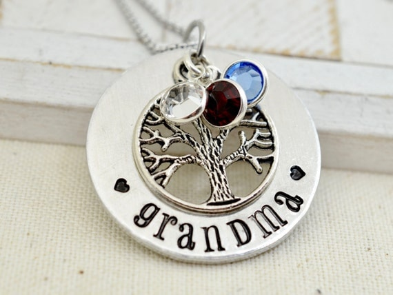 Grandmothers Birthstone Necklace, Family Tree Necklace, Gift for Grandma, Grandmother Necklace, Gift for Nana, Grandma Gift, Nana Gift