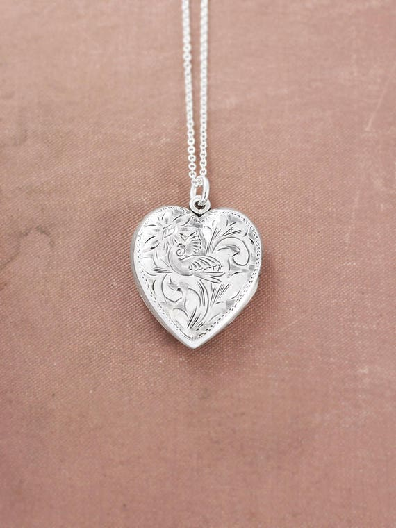 Sterling Silver Heart Locket Necklace, Rare Vintage Swallow Bird Engraved Photo Pendant - Forties Charm