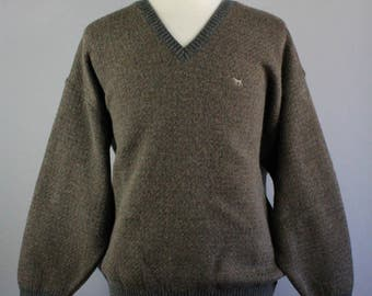 Mens Sweater. Brown Gray Sweater. Pullover Sweater. Wool Sweater. Winter Spring Sweater. Vintage. Size 2XL. Free Shipping