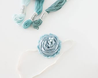 Sleepy Jean - denim blue rosette chiffon flower headband bow