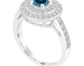1.25 Carat Double Halo Engagement Ring, Blue Diamond Wedding Ring 14K White Gold Unique Pave Handmade Certified