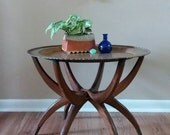 Vintage mid century brass table with wooden spider legs