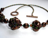 Beaded bead necklace Swarovski crystals Antique copper | MADE TO ORDER | ooak | Unique Valentines day Anniversary gift for her