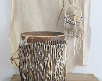 Vintage Small Decorative African Hide Drum