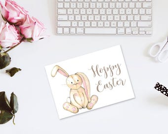 Easter Cards, INSTANT DOWNLOAD,  Foldable Easter Notes, Easter Card, Bunny Easter Cards, Printable Easter Cards, Hoppy Easter Cards