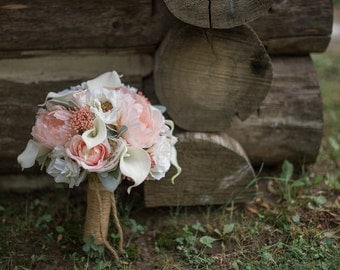 Wedding rustic bouquet - Peony bouquet - Coral and cream Bridal bouquet - Boho bouquet