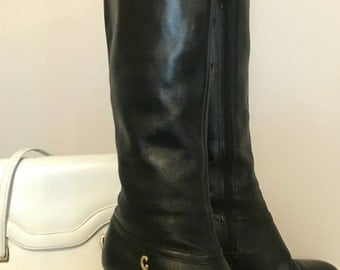 vintage leather boots black cobbies size 7