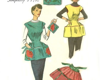 1950s Apron Pattern Simplicity 4492 Cobbler and Half Apron Size Small Waist 25 26
