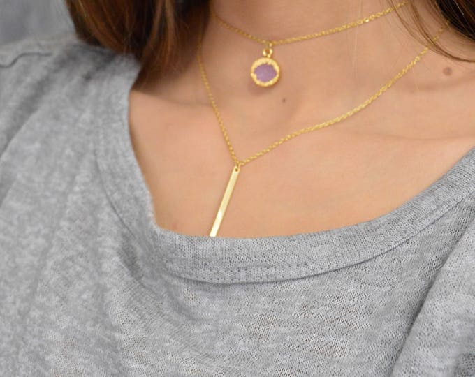 Layered Set Of Two Pink Druzy And Bar Drop Necklaces