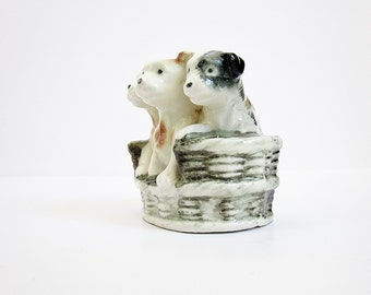 Three Pups In A Basket Figurine Vintage Puppies Ceramic Collectibles Japan Figurine Quirky Kitsch Odd Dog Lover Gift Idea Under 30 Dollars