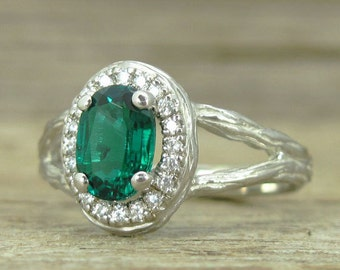 Emerald Halo Twig Engagement Ring, Emerald Wood Engagement Ring, Emerald Engagement Ring, White Gold Wood Engagement Ring With Emerald