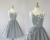 Vintage 50s Dress/ 1950s Cotton Dress/ Black & White Gingham Print Cotton Dress w/ Floral Appliqué and Sequins XS
