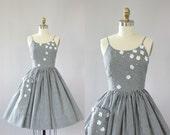 Vintage 50s Dress/ 1950s Cotton Dress/ Black & White Gingham Print Cotton Dress w/ Floral Appliqué and Sequins XS