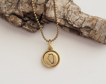 Illinois, Stamped Illinois Necklace, Illinois Jewelry, State Jewelry, Illinois Charm, IL, Gold Illinois Necklace