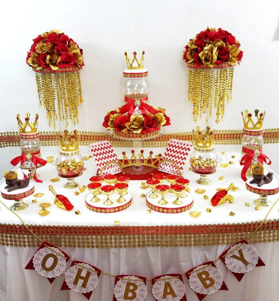 boys red and gold royal prince baby shower theme and decorations