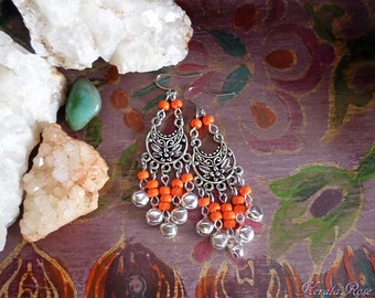 "FREE SHIPPING!- Silver or Gold, Boho Jingle Bell Chandelier Earrings, Small Bellydancer Gypsy,  2 1/2"", Orange, Blue, Black, Color Options!"