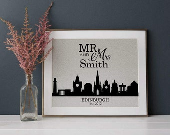 City Skyline Print • Personalized Wedding • Gift for Couples • New Home Gift • Anniversary Gift • Engagement Gift • Housewarming Gift