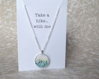Adventure Print Card & Necklace; Hiker Jewelry Gift; Travel Couple; Forest Print Hiking Traveler; Her Present (Carte; Karte) by InfinEight
