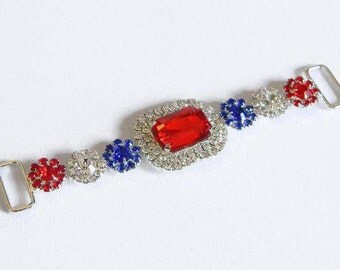 """Red White and Blue 4.5"""" Connector Silver w/ Patriotic  Rhinestones for Headband Making Girl Clothing Multiple Crafts 4th of July Holiday"""