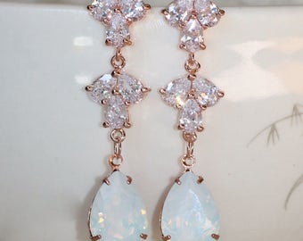 NEW Rose Gold White Opal Chandelier Drop Earrings,Bridal Bride Wedding,Stud Post Style,Rhinestone,Long Dangle Drop,Sparkling Pave Paved,Pear