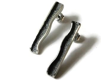 Delicate silver earrings. Silver boho earrings. Boho stud earrings. Drop earrings. Unique silver stud earrings. Gift for her.