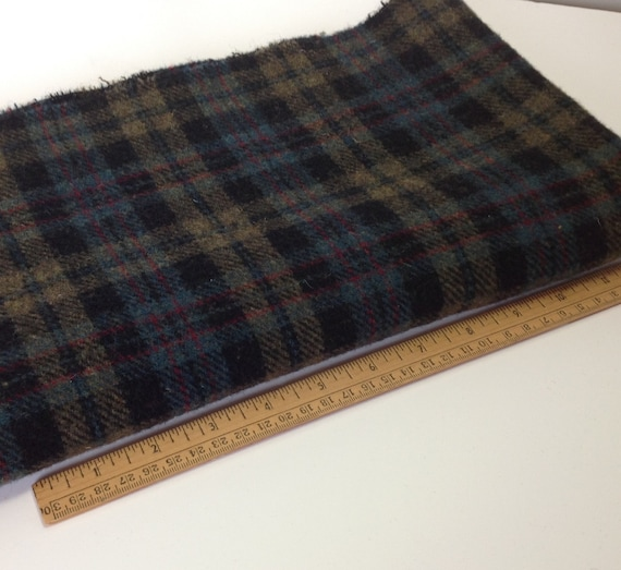 Gemstone Plaid, Wool for Rug Hooking and Applique, 1/2 yard or 1/4 yard, W277, Dark Plaid, Background Plaid