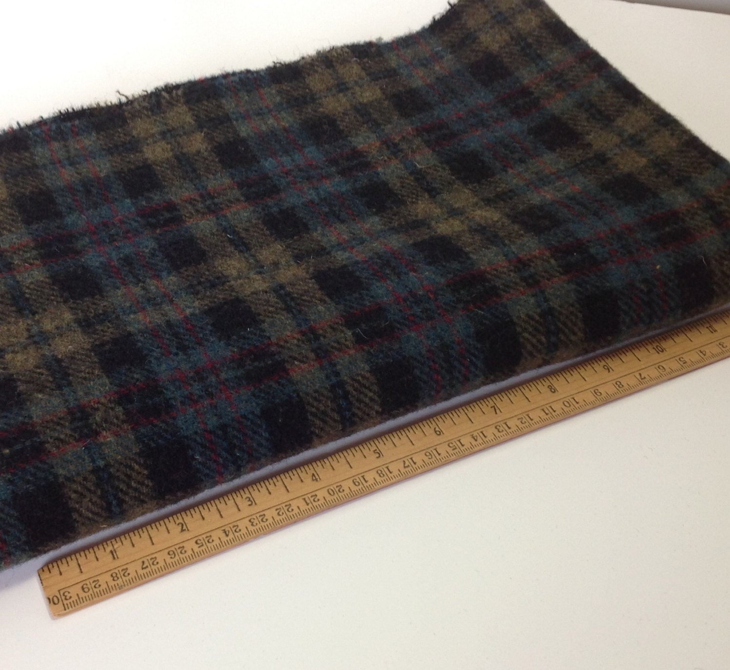 Gemstone Plaid Wool For Rug Hooking And Applique 1/2 Yard Or