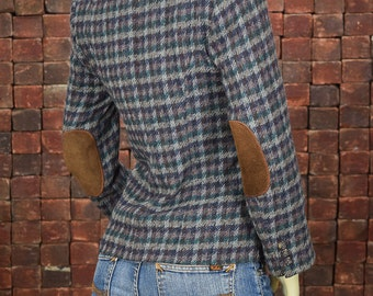 Customized Women's Size 4 Vintage Houndstooth Villager Tweed Jacket With Custom Sewn Brown Suede Elbow Patches by Rock It Again