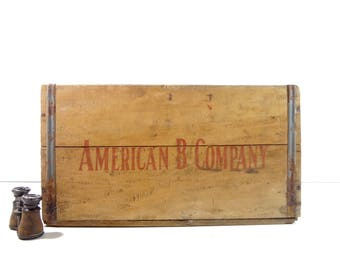 Vintage Wood Crate / American B Company Industrial Wooden Crate / Industrial Storage
