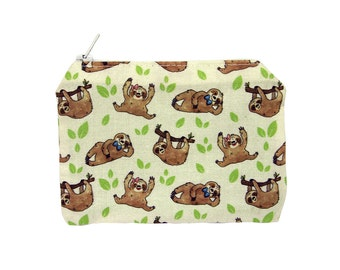 Sloths Zippered Pouch - Coin Purse / Illustrated Fabric / Sloth Pattern / Cute Print / Zipper Pouch