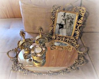 Vintage Ormolu Vanity Set, Cherub Flower Bow Glass, Tray, Picture Frame, Perfume, Dauber, Powder Box, Antique French Swan Down Powder Puff